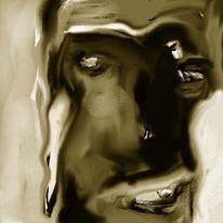 Expressionismus, Portrait, Digital, Mischtechnik