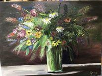 Ölmalerei, Blumen, Strauß, Wiese