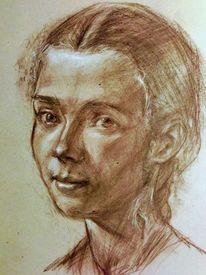 Zeichnung, Seitenblick, Portrait, Zeichnungen