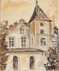 Burg, Strukturpaste, Architektur, Malen