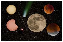 Sonnenfinsternis, Weltall, Erde, Malen