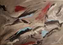 Malerei abstrakt, Schwarz, Rot, Blau
