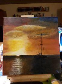 Sonnenuntergang, Boot, Acrylmalerei, Meer