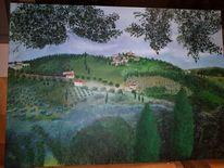 Hügel, Feld, Toskana, Häuser