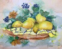 Zitrone, Blumen, Aquarellmalerei, Aquarell