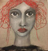 Pigmente auf leinen, Frau, Malerei, Göttin sarasvati