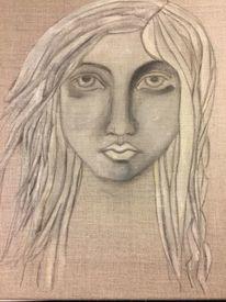 Portrait, Leinen, Pigmente, Frau
