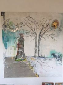 Frau, Kunsttherapie, Weg, Krebs
