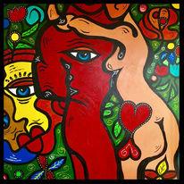 Frau, Mann, Malerei, Abstrakt