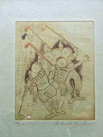 Zeichnung, Figural, Hockey, Pinnwand