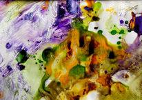 Fotopapier, Tuschmalerei, Abstrakt, Monotypie