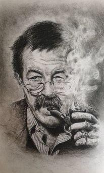 Kohlezeichnung, Günter grass, Portrait, Zeichnungen