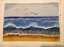 Welle, Wolken, Meer, Pastellmalerei