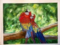 Rot, Vogel, Pastellmalerei, Mischtechnik