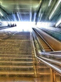 Rolltreppe, Perspektive, Licht, Blendend
