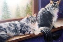 Malerei, Acrylmalerei, Pastellmalerei, Katze