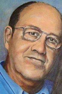Portrait, Mann, Brille, Malerei