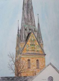 Kirchturm, Zeichnung, Schleswig holstein, Gebäude