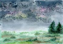 Aquarellmalerei, Wiese, Salz, Landschaft