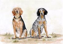 Tiere, Zeichnung, Aquarellmalerei, Hund