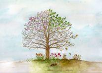 Baum, Kreislauf, Aquarellmalerei, Jahreszeiten