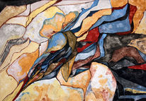 Felsenlandschaft, Zauberberg 1, Acrylmalerei, Mischtechnik