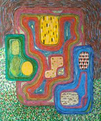 Preis vh, Klimt bei hundertwasser, Abstrakt, Acrylmalerei
