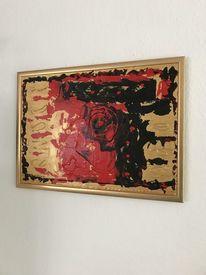 Mischtechnik, Acrylmalerei, Gold, Rot schwarz