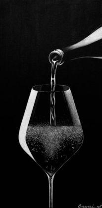 Weinflasche, Acrylmalerei, Fest, Wein