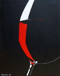 Acrylmalerei, Wein, Rotwein, Weinglas