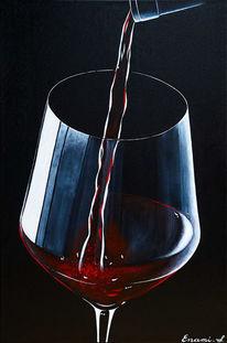 Acrylmalerei, Rotwein, Weinglas, Wein