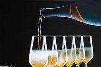 Acrylmalerei, Champagner, Weinglas, Wein