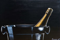 Sekt, Champagner, Weinflasche, Acrylmalerei