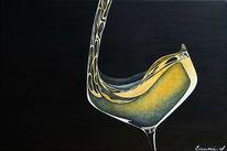 Weißwein, Weinglas, Schwarz, Acrylmalerei
