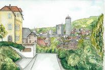Stadtansicht, Jena, Thüringen, Aquarell