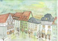 Deutschland, Markt, Thüringen, Abendhimmel