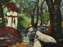 Korkeichen, Frau, Landschaft, Frauenbild