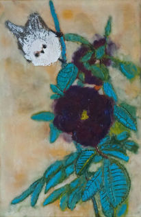 Rose, Vogel, Enkaustik, Tiere