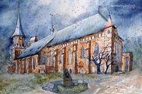 Königsberg, Aquarellmalerei, Kirche, Der dom