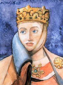 Uta von naumburg, Historische person, Aquarellmalerei, Stifterfigur