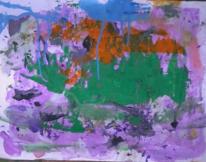 Abstrakter expressionismus, Grün orange blau, Abstrakte malerei, Informel