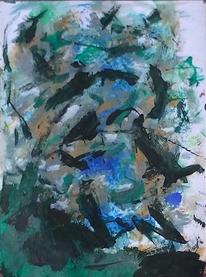 Abstrakter expressionismus, Grün schwarz, Abstrakte malerei, Informel