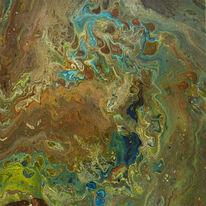 Abstrakt, Grün, Braun, Blau