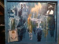 Malerei, Tragen, Abstrakt, Blau