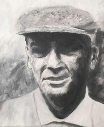 Schwarzweiß, Portrait, Ölmalerei, Malerei