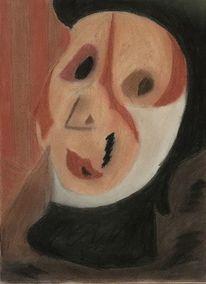 Frau, Portrait, Abstrakt, Kreide