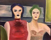 Farben, Frau, Expressionismus, Ölmalerei