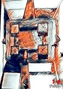 Tarotmotiv, Mischtechnik, Zeichnung, Digitale kunst