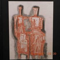Zeichnung, Abstrakte rötelstudie, Portrait, Zeichnungen