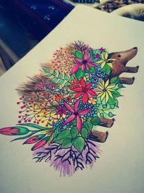 Igel, Frühling, Blütenpracht, Zeichnungen